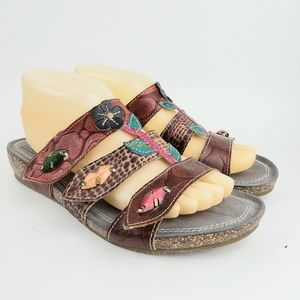 L'Artiste Boho Leather Floral Slides Sandals 9.5
